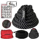 POWRX Battle Rope Schwungseil   15 m x 3,8 cm   Trainingsseil Sportseil Schlagseil Fitness Tau (Schwarz/Nylon)