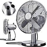 KESSER® - Tischventilator Design Retro Voll-Metallgehäuse 80° Oszillation - leise Ventilator mit 3 Geschwindigkeitsstufen - Zuschaltbare | Windmaschine | Neigungswinkel ca. 40° Metall, Silber