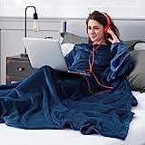 Bedsure Ärmeldecke Marineblau Kuscheldecke mit Ärmeln, Sweatshirt Decke Ärmel zum Anziehen Erwachsene 170x200 cm, Ganzkörperdecke mit Ärmel tragbar extra weich als TV Decke
