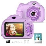 Kinderkamera-Digitalkamera für Kinder-1080P Selfie Kamera mit 32GB SD-Karte für 3-10 Jahre Mädchen Junge, Spielzeug Geschenke Videokamera für Geburtstags Weihn (Lila)