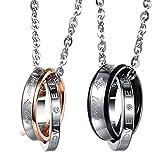 Cupimatch Valentinstagsgeschenk 2PCS Herren Damen Edelstahl verflochtene Doppel-Ringe Anhänger Paar Halskette mit Gravur Strass Forever Love, mit 45cm, 50cm Kette