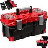 Werkzeugkasten leer | Kunststoff | Abschließbar | 19' | Klickverschlüsse | Antirutsch Griff | viele Unterteilungen - Werkzeugkiste Werkzeugbox Werkzeugkoffer Montagekoffer