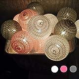 Morbuy LED Lichterkette mit Kugeln, Baumwollkugeln Mit 10/20/30 Bällen Batteriebetrieben Licht Festlich Hochzeiten Geburtstag Cotton Ball Weihnachten Dekorative (1.8m / 10 Lichter, Grau)