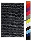 MSV Badteppich Badvorleger Duschvorleger Chenille Hochflor Badematte 40x60 cm – Grau