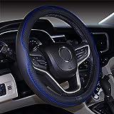 ISTN Mikrofaser Leder Auto Lenkradbezug 38cm für die meisten Autos (schwarz dunkelblau)