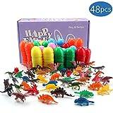 Amy&Benton Ostern Dekoration für Kinder, 48 Mini Dinosaurier Figuren, Ostereier Deko Spielzeug für 3 4 5 jährige, Party Tasche Füllstoffe für Junge Mädchen
