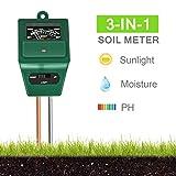 Xddias Bodentester, 3 in 1 Bodenmessgerät für Pflanzen, Boden Feuchtigkeit pH Lichtstärke Meter Tester für Pflanzenerde, Gartenbau, Bauernhof, Rasenpflege, Keine Batterien Erforderlich