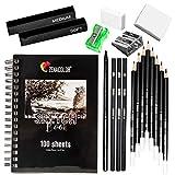 Zenacolor - Zeichen-Set - 19 Zubehörteile: 8 Bleistifte, 3 Kohlestifte, 1 Graphit Stift, 2 Kohlestäbe, 100-Seitiges Skizzenbuch - Anfänger oder Profi