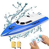 Ferngesteuertes Boot, RC Boot Kinder Mini Fernbedienungs Boot 2,4 GHz 20 km / h für Pools und Seen (Blau)