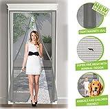 ARCOL Magnet Fliegengitter Tür Insektenschutz Premium - Netz Aus Super Widerstandsfähigem Undurchdringlich, in Minimal-Design, Total Magnetisch, Automatik-Verschluss (100x220 cm, Grau)