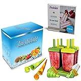 Freshelato - EIS am Stiel Eisformen/Wassereisformen Set + 2 x Silikon EIS Pop Form + Trichter + BPA- frei + Bürste + Rezeptbuch (Ebook auf Deutsch) (Gelb-Grün)
