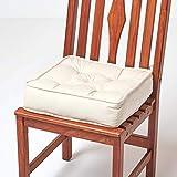 Homescapes gepolstertes Sitzkissen 40 x 40 cm, Creme-weiß, 10 cm hohes Stuhlkissen mit Bändern, Stuhlpolster/Matratzenkissen für Stühle, Bezug aus 100% Baumwolle