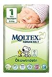 6er Pack 138 St. MOLTEX Nature No1 Peanuts Ökowindeln Babywindeln NEWBORN Gr 1 (2-4 kg) 6x23St.