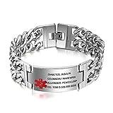 Grand Made 8,5 Zoll kostenlose Gravur Personalisierte Notfall medizinische Alarm ID Gravur Armbänder für Herren Edelstahl Life Medical Alert Notfallarmband Erwachsene Damen Armband
