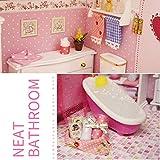 perfecthome Blusea Häuser Für Minipuppen,DIY Miniatur Loft Puppenhaus Kit Realistische Mini 3D Rosa Holzhaus Zimmer Spielzeug Mit Led-leuchten Spieluhr 40 27,5 32 cm
