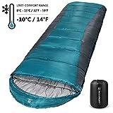 Bessport Schlafsack 3-4 Jahreszeiten Winter | Wasserdichter Deckenschlafsack | 100% Sprüh Gebundene Baumwolle Füllung - für Camping, Reisen und Outdoor (Grey)