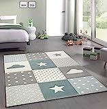 Merinos Kinderteppich Junge Teppich Kinderzimmer mit Stern Wolke in Blau Grau Creme Größe 160x230 cm