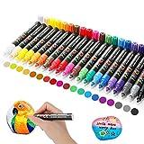 RATEL Wasserfeste Acrylstifte, 20 Farben 3mm Permanent Marker Stifte Acrylstifte Paint Pen, Schnelltrocknender Bemalen Stifte für Keramik/Steine/DIY Fotoalbum/Papier/Glas - Non-Toxic