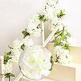 MZMing 2 x 235cm Cherry Blossoms Mit Rattan Garland Kranz Mit Schönen Fake Blumen Pflanzen und Blumen-Blatt für zu Hause Party Garten Weihnachten Hochzeit Dekoration - Weiß