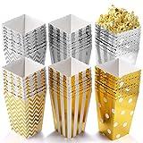 Fangyiyi 36 Stück Popcorn Boxen, Pappe für Snacks Candy Container Partytüten Behälter für Party Geburtstag Hochzeit Geschenk,Gold Silber 12 x 7CM