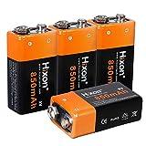 Hixon 9V Akku 850mAh Li-Ion Wiederaufladbarer Batterie für Rauchmelder Multimeter Alarmsystem Walkie Talkie, 4er Set