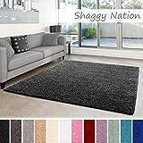 Shaggy-Teppich | Flauschiger Hochflor für Wohnzimmer, Schlafzimmer, Kinderzimmer oder Flur Läufer | einfarbig, schadstoffgeprüft, allergikergeeignet | Dunkelgrau - 200 x 290 cm