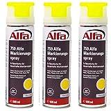 Markierungsspray 3 x 500 ml (1,5 Liter) Neon-Gelb für saubere und präzise Markierungen mit flexibler 360 °C Sprühanwendung (Überkopffunktion) auch für feuchte Untergründe und Minustemperaturen