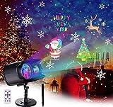 BACKTURE Weihnachten Projektor, LED Projektor Lampe mit Fernbedienung LED LED Projektionslampe mit 9 Dynamisch Szenen und 13 Wasserwellen, für Außen Innen Dekoration Weihnachten Halloween Party
