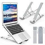 Yuede Laptop Ständer, Multi-Winkel Verstellbar, 9 Höhen Einstellbar, Faltbar Aluminium und Silikon Tablet Halterung Stand Halter für 10-17 Zoll Notebook/iPad/MacBook, Silber