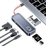 USB C Hub 11 Ports Docking Station, Rock DUAL-Display Aluminium Type C Hub mit 4K HDMI, VGA, 100W PD Ladeanschluss, RJ45 Ethernet, USB 3.0, SD/TF, 3.5mm Headphone Jack für MacBook Pro Air, iPad Pro
