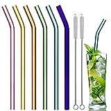 Glas Strohhalme Wiederverwendbar Trinkhalm, Gebogen 21.5 cm x 8 mm handgefertigt - 6er Set mit 2 Reinigungsbürsten, Glastrinkhalme Glasstrohhalme - gesund, umweltschonend, frei von BPA (21.5cm)
