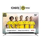CHiQ U50H7A Randloser Android UHD LED Fernseher 50 Zoll TV 4k Randlos Smart TV 126 cm Bilddiagonale [Made in EU] (Version 2020, Ultra HD, Prime Video und Chromecast)