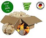 Jean Vallier Grillanzünder Kaminanzünder Brennholzanzünder Fichtenholzwolle Holzwolle Anzündwolle Premium-Holzwolle für Kamin Ofen Grill Kaminholz mit Langer Brenndauer - Kauf 5 kg Zahl 3 kg -