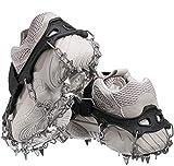 Audew Steigeisen mit 19 Zähne Spikes, Schuhkrallen Schuhspikes Für Bergschuhe, Schuhe, Bodenhaftung Anti Rutsch zum Klettern, Bergsteigen und Wandern, EIS und Schnee Sport für Winter (M)