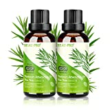 Teebaumöl Bio 100% - 2 PACK Teebaum öl Bio Tea Tree Oil für Shampoo Körper Gesicht Anti Pickel Akne Öl, Acne Serum Anti-Akne-Behandlung gegen Unreine Haut Schuppen Mitesser, Diffuser Ätherische Öle