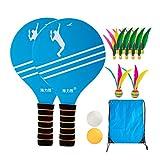LIOOBO Strand Paddel Set Holzschläger Beachball Badminton Schläger Cricket Ball mit Federball Beutel für Büro Outdoor Sport Style b
