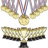 12 Trophäen & 12 Medaillen Party Mitgebsel - Perfekte Award-Preise - Jeder kann ein Gewinner sein, ideal für Leistungs- und Effortpreise im Bereich Sport & Wettkämpfe.
