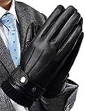 INFLATION Herren Lederhandschuhe Echt Leder Vollhand Touchscreen Warm gefütterte Handschuhe verstellbar Windschutz Geschenk Packung Schwarz L