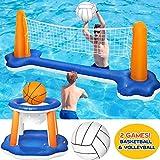 Cracklight Pool Volleyball Game Set Aufblasbares Volleyball-Rack mit Basketballkörben Bällen Volleyball Set für Pools Schwimmen Volleyball-Netz Komplettset für Kinder Erwachsene