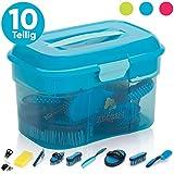 Adozen Pferde-Putzbox mit Inhalt | 10-Teilig befüllt | Soft Touch Antirutschgriffe | Blau mit weißen Punkten