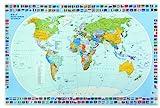 Veloflex 4671000 Schreibunterlage 40 x 60 cm, Schreibtisch-Unterlage, Welt, Weltkarte, abwischbar, rutschfest