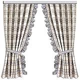 SeGaTeX home fashion Landhaus-Vorhang 2er Set Hetty grau kariert Dekoschal mit Rüsche Übergardine Landhausserie Hetty
