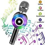 Karaoke Mikrofon Bluetooth, NINECY Drahtlose Mikrofon mit Lautsprecher für Kinder Erwachsene, Stereo Player Dynamisches Licht Mikrophon mit Aufnahme für Musik Spielen/KTV/Party, für Android/IOS, PC