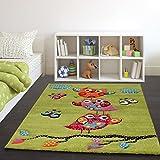 Paco Home Kinder Teppich Niedliche Eulen Grün Creme Rot Blau Orange, Grösse:120x170 cm