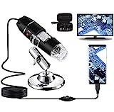 USB-Digitalmikroskop 40X bis 1000X, Bysameyee 8 LED-Vergrößerungs-Endoskopkamera mit Tragetasche und Metallständer, kompatibel für Android Windows 7 8 10 Linux Mac