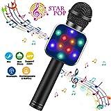 BlueFire Karaoke Mikrofon, Bluetooth Mikrophon Kinder, Lautsprecher Dynamisches Licht Drahtlose Tragbares Handmikrofon mit Aufnahme für Erwachsene und Kinder, Kompatibel mit Android IOS PC(Schwarz)