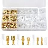 Flachsteckhülsen Set, Preciva 300 stück männlich & weiblich Kabelstecker Set isolierte Verbinder mit Schutzhülle (2,8 mm 4,8 mm 6,3 mm)