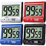 Frienda 4 Stück Digital Küche Timer Groß Anzeige Küchenwecker Magnetischer Elektronischer Countdown mit Laut Alarm zum Kochen Spiel Backübung, Schwarz, Weiß, Rot, Blau