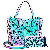 LOVEVOOK Geometrische leuchtende Geldbörse und Handtaschen für Frauen, holografisch, reflektierend