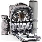 CampFeuer Picknickrucksack für 4 Personen (Grau)   Picknickset 32-teilig   inkl. Flaschenhalter und Fleece Decke, großem Kühlfach, Geschirr und Besteck
